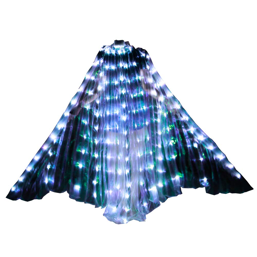 LED Isis Wings with Rods Dance Wings Performance Wedding Cape (White)