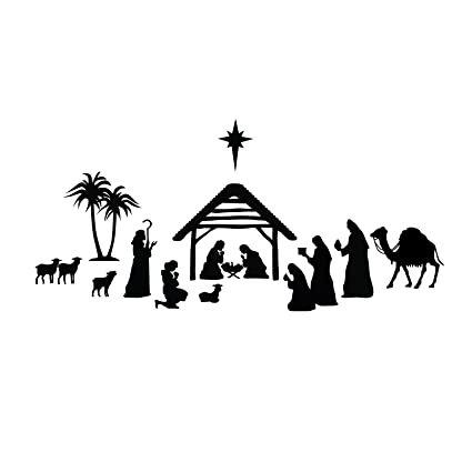 Nativity Scene Silhouette , Black , Vinyl Wall Art Decal for Homes,  Offices, Kids Rooms, Nurseries, Schools, High Schools, Colleges,  Universities