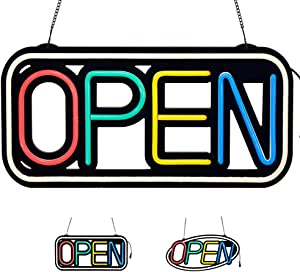 LED Neon Open Sign for Business Super Bright 18.5x9.25In Rectangle Oval FR Wireless Remote with 10 Animation Modes by Wetocke