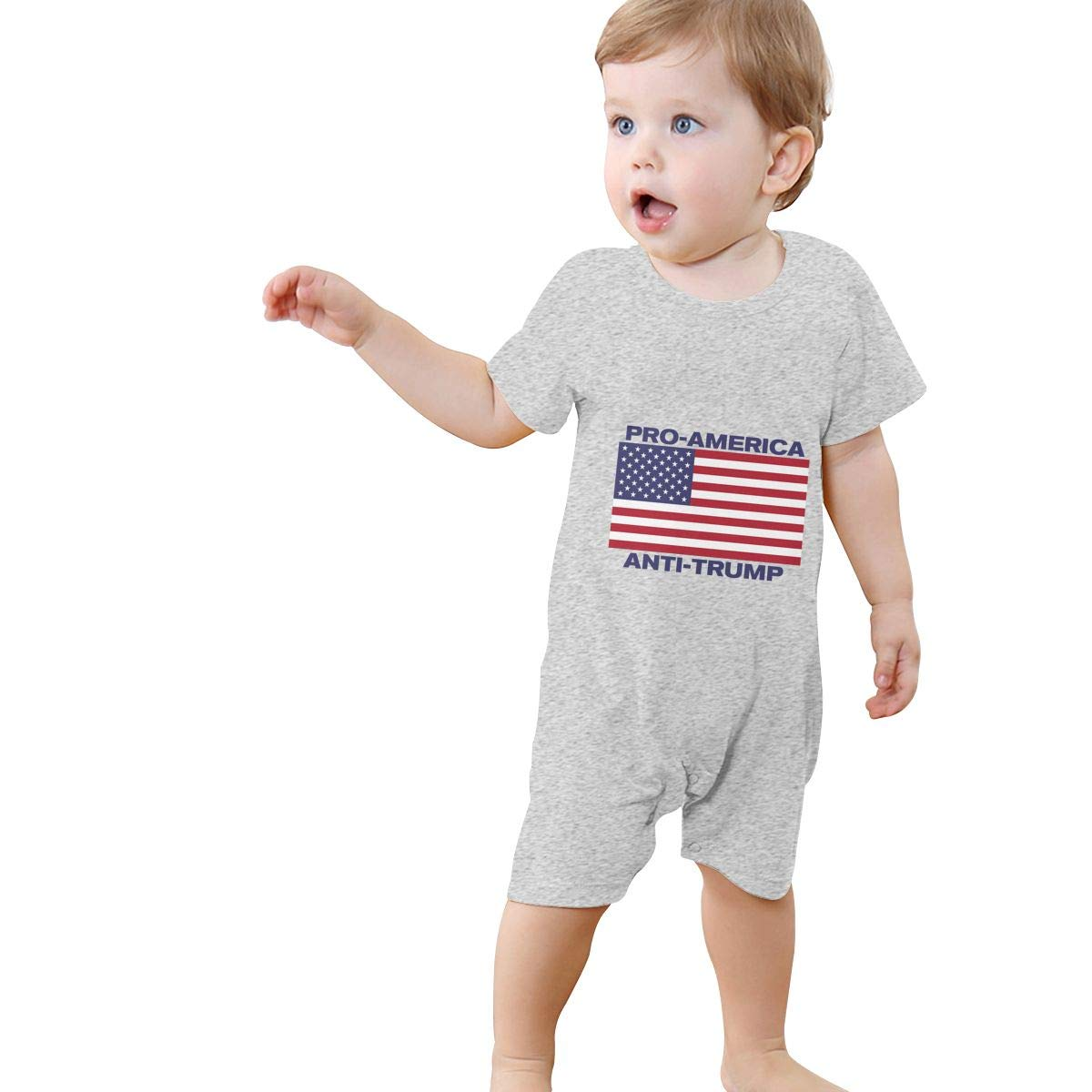 Baby Boys Girls Short Sleeve Jumpsuit Pro-America Anti-Trump Flag Cotton Romper