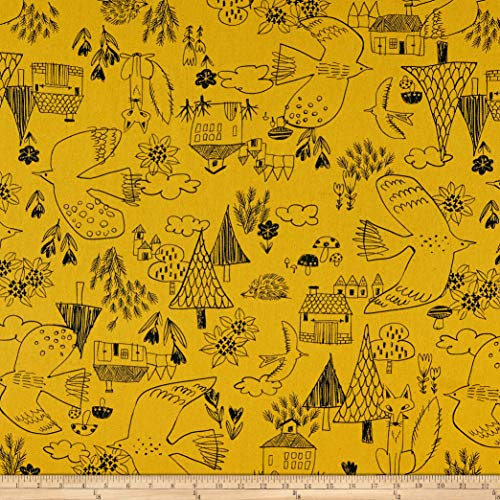 Cosmo Textiles Co. Cosmo Scandinavian Woods XII Linen/Cotton Oxford Cottage Scene Mustard, Fabric by the Yard
