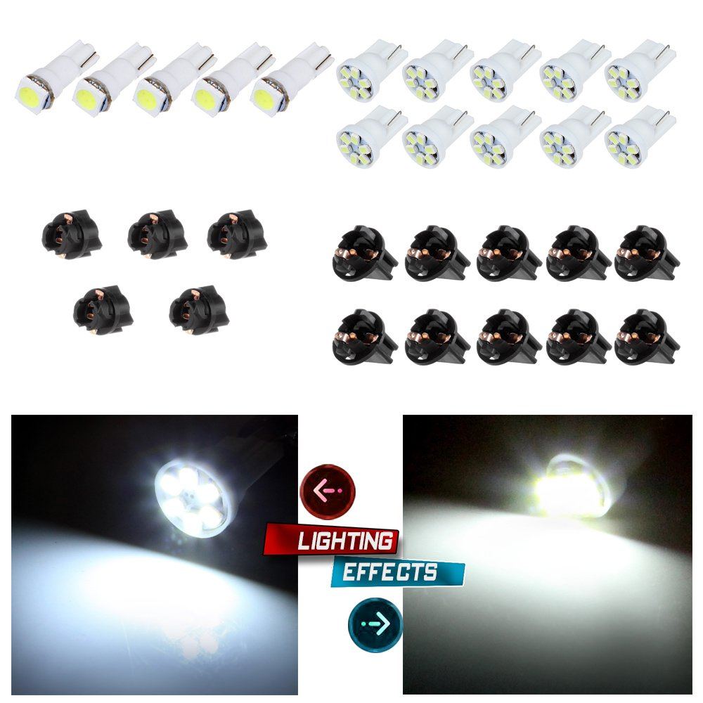 cciyu 10x T5 5050 1SMD Wedge Xenon White LED Light Bulbs +5x T10 W5W Wedge 168 194 LED Bulb +5x T10 1/2' 10x T5 168/194 Twist Lock Sockets 993843-5210-1552134