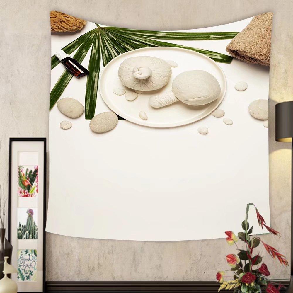 Madeleine Ellis Custom tapestry spa setting on white background flat lay