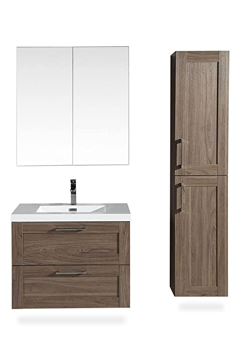 The Cosmo 30 Inch Modern Bathroom Vanity Set   Wall Mounted Cabinet With 2  Large