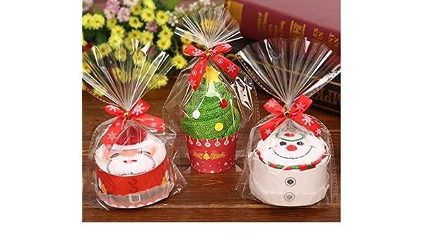 urtoys 3 piezas 30 x 30 cm Creative pasteles toalla de toallas de mano de árbol de Navidad Santa Claus jardín eventos Navidad muñecas regalo promocional ...
