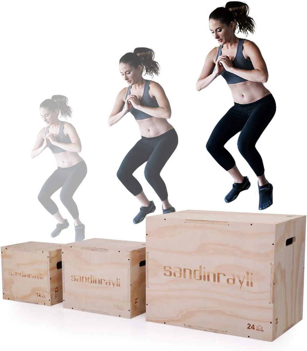 Lazymoon 3 en 1 caja de madera Plyo de 50,8 x 61 x 76,2 cm CrossFit Plyometrics Box plataforma Jump Training: Amazon.es: Deportes y aire libre