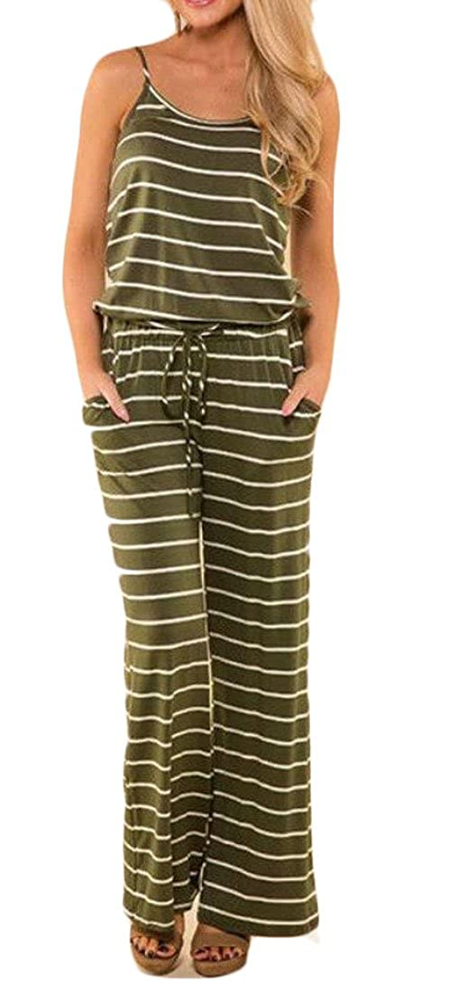 C/&H Womens Comfy Striped Tie Spaghetti Strap Pants Backless Jumpsuits Romper
