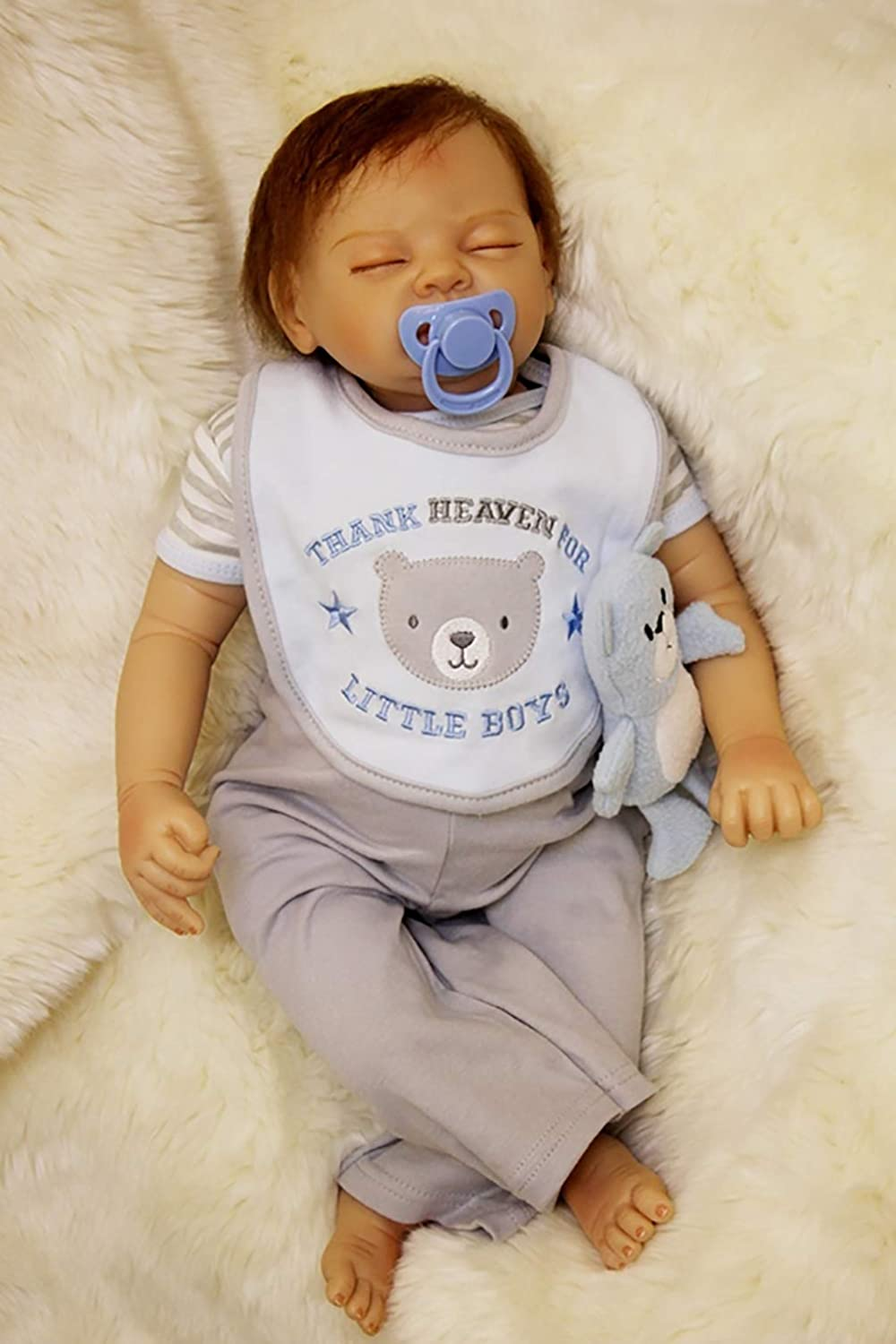 antboat Reborn Baby Dolls Boys 22 inch 55cm Soft Silicone Reborn Real Life Toddler Baby Dolls Newborn Baby Sleeping Boys Magnetic Mouth Xmas Gifts Reborn Babies