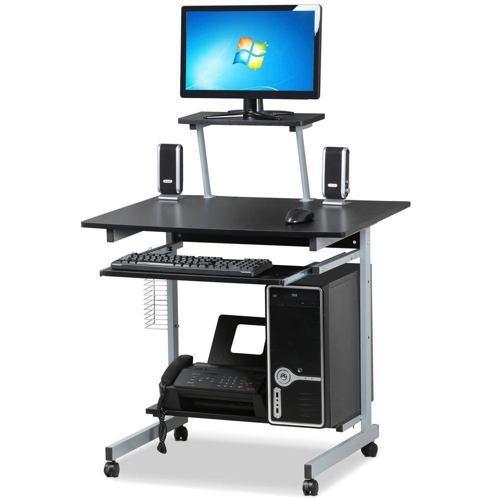 Topeakmart Home Office Mobile Computer Cart Desk with Keyboard Tray and Storage Shelves, Printer Stand, CD Rack Computer Workstation Desk on Wheels