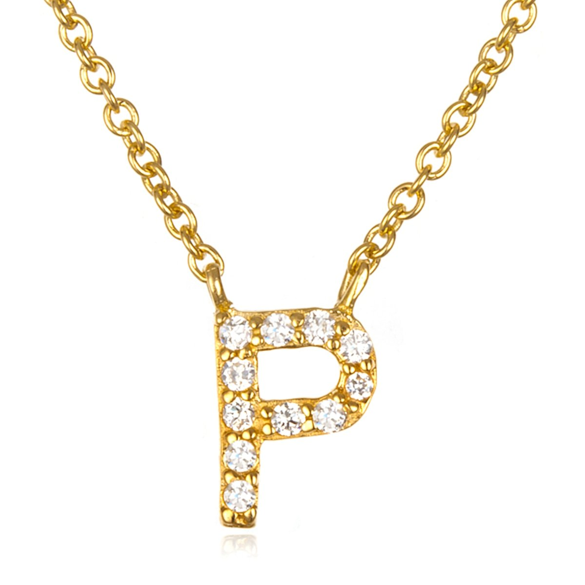 CHELINE White CZ Initial P Necklace with 18 Inch Chain