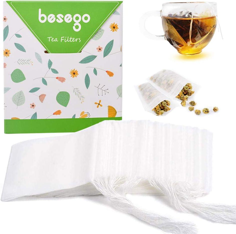 Empty Tea Bags Disposable Tea Pouch Cotton Drawstring Filter Teabags 100Pcs 6DB