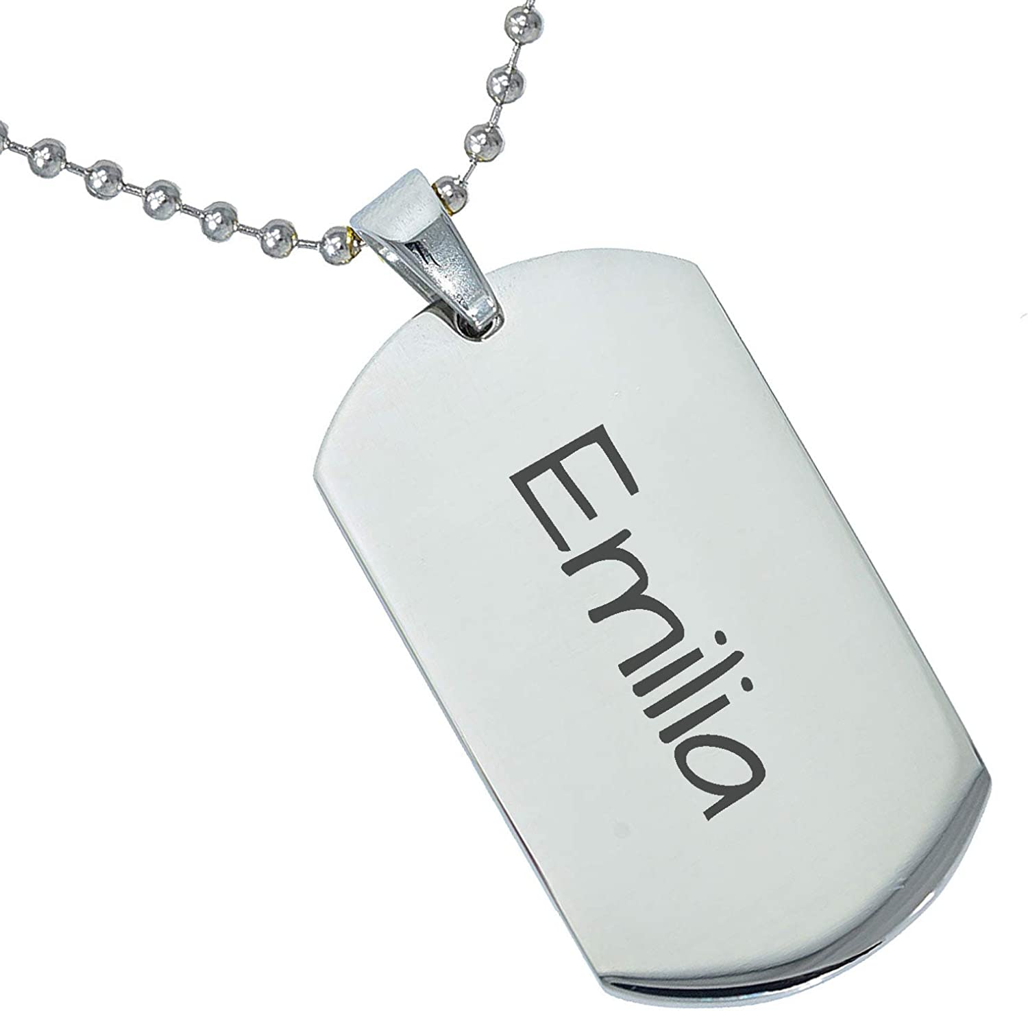 Stainless Steel Silver Gold Black Rose Gold Color Baby Name Emilia Engraved Personalized Gifts For Son Daughter Boyfriend Girlfriend Initial Customizable Pendant Necklace Dog Tags 24 Ball Chain