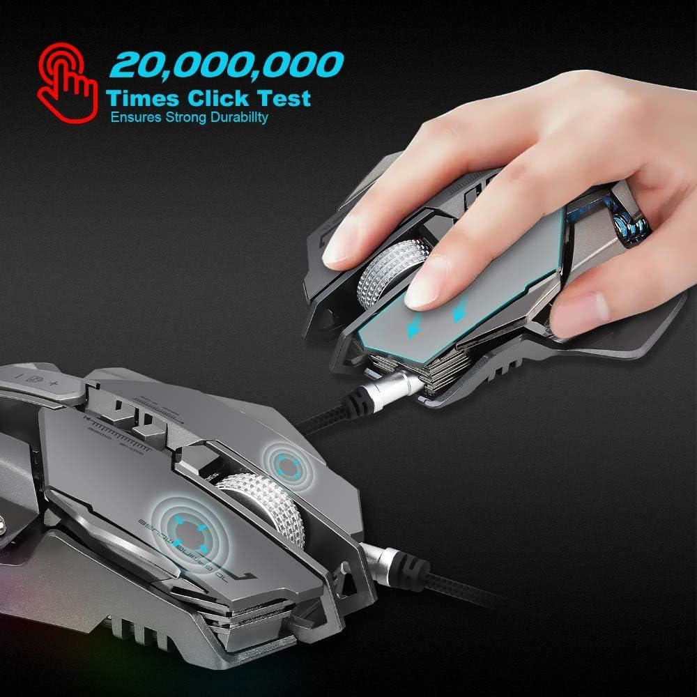 HM2 Souris mécanique USB Filaire Gaming Mouse 7 Boutons programmables mécanique Macro définition Programmation Jeu Souris Noir
