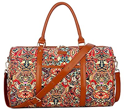 BAOSHA HB-29 Ladies Women Canvas Carry-on Weekender Bag Travel Duffel Tote Bag Weekend Overnight Travel Bag