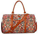 BAOSHA HB-29 Ladies Women Canvas Carry-on Weekender Bag Travel Duffel Tote Bag Weekend Overnight Travel Bag (Colour Flower)