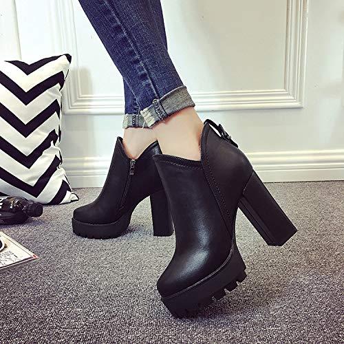 Yukun zapatos de tacón alto Tacones Altos Puntiagudos Otoño E Invierno con Tacones Altos Gruesos con Martin Boots Cremallera Lateral Ladies Flow Black