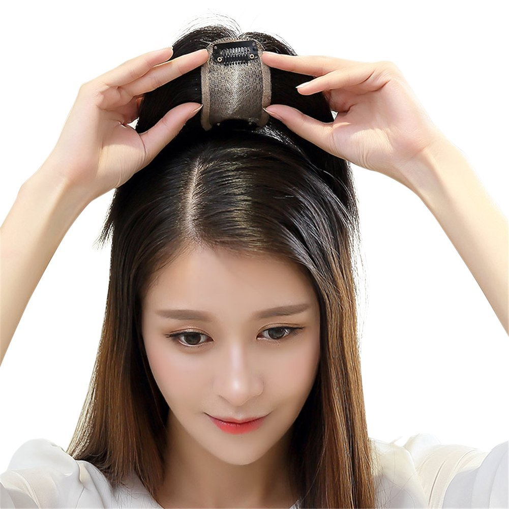 Remeehi Middle Part Real Human Hair Topper Clip in Hand Made Hair Top Piece for Thinning Hair (14inch Chestnut Brown)