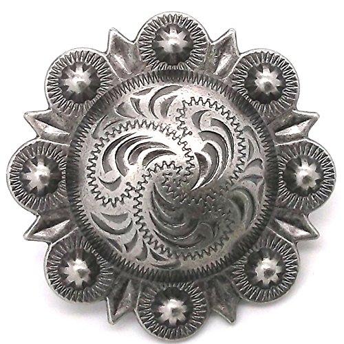 - Berry Concho Antique Silver Screw Back 1-1/2