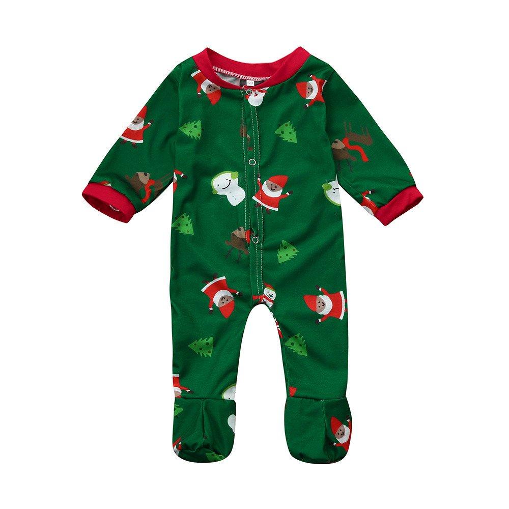 b3086c1db Amazon.com  Christmas Unisex Baby Pajamas Newborn Infant Print Long ...