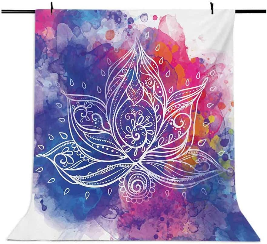 Lotus 10x15 FT Photo Backdrops,Paintbrush Boho Lotus with Brushstroke Effect Hippie Art Print Background for Baby Shower Bridal Wedding Studio Photography Pictures Royal Blue Fuchsia Red