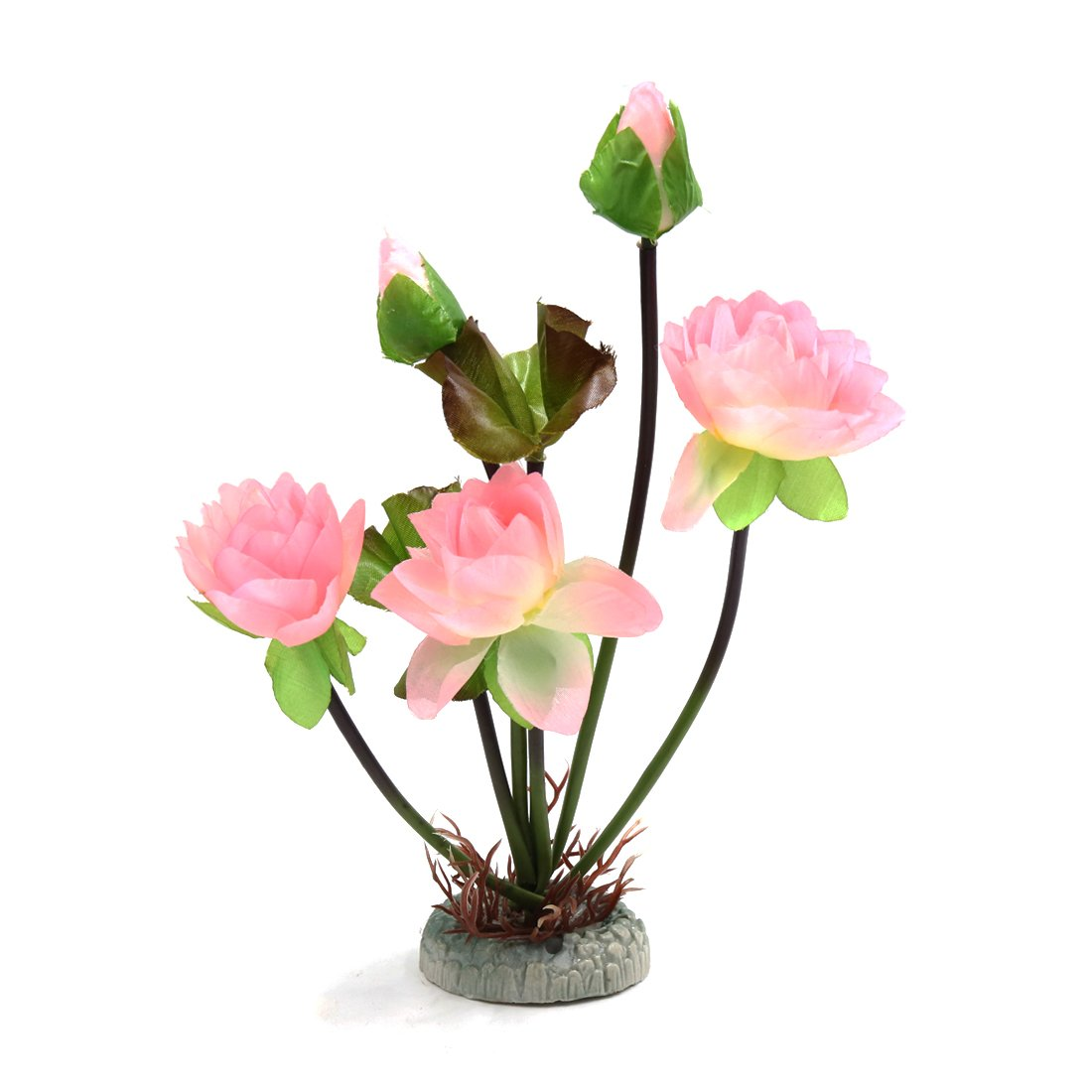 Uxcell Light Pink Plastic Flowered Plant Fishbowl Betta Tank Decor w Weighted Base
