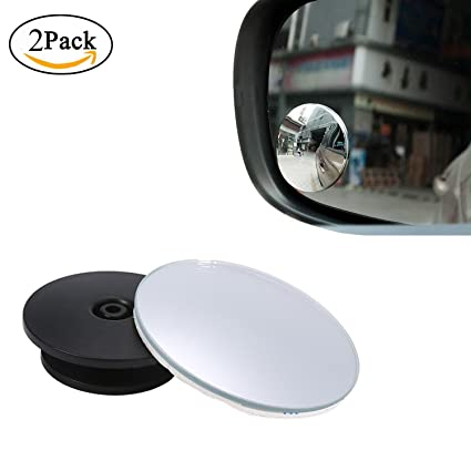 KOBWA Espejo para Punto Ciego, Espejo retrovisor Gran Angular 360 ° Redondo HD Cristal Delgado