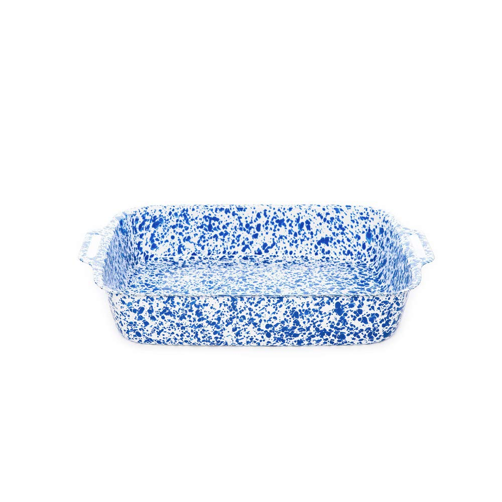 Enamelware Lasagna Pan, 12.5 x 9 inches, Blue/White Splatter