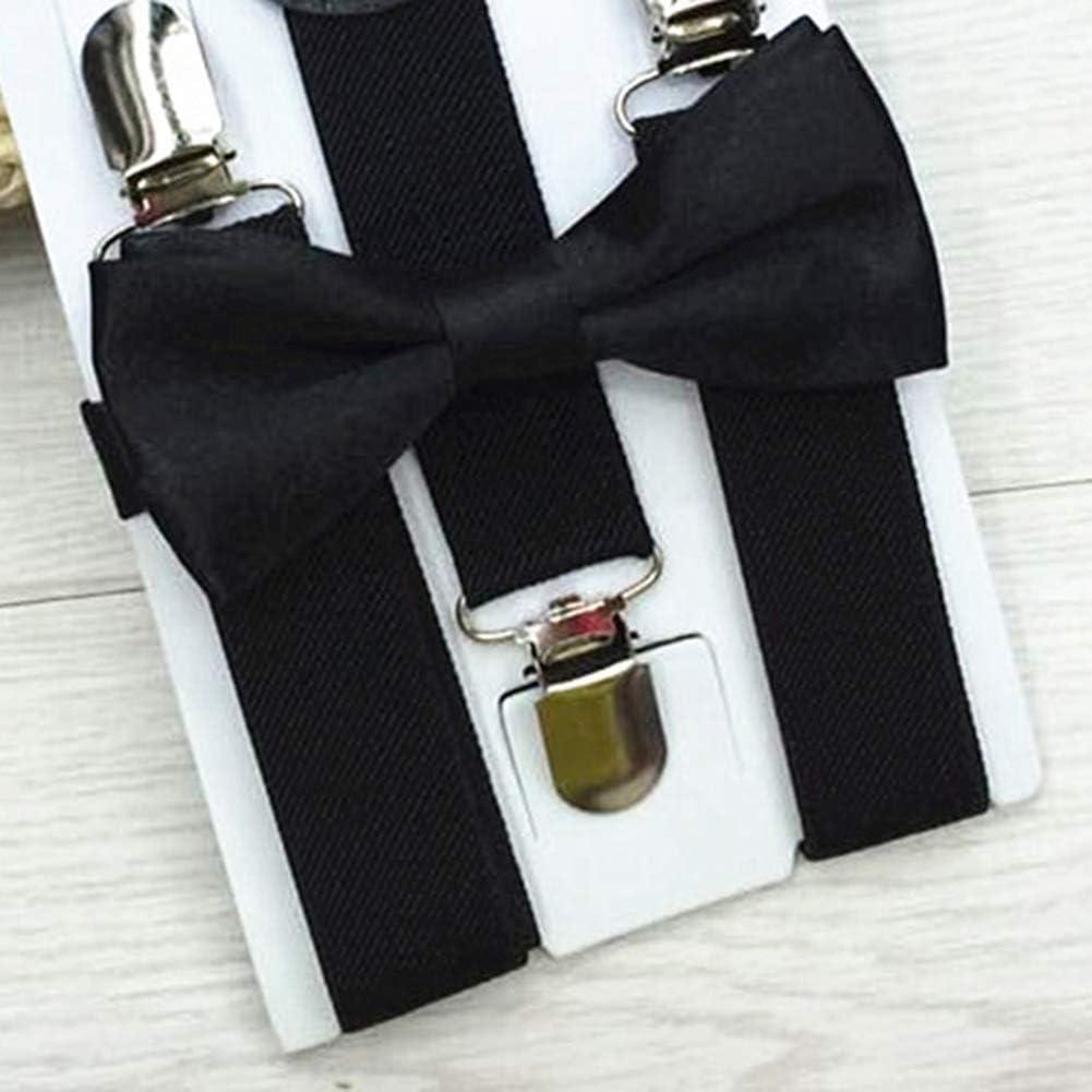 zmigrapddn Unisex Kids Adjustable Y-Back Suspenders Bowtie Matching Outfit Elastic Suspenders for Children Beige