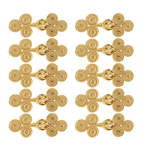 Flameer 10 Sets Assorted Color Chinese Frog Knot Closure Buttons Fastener for DIY Sewing Casual Coats Cheongsam Wear - Gold