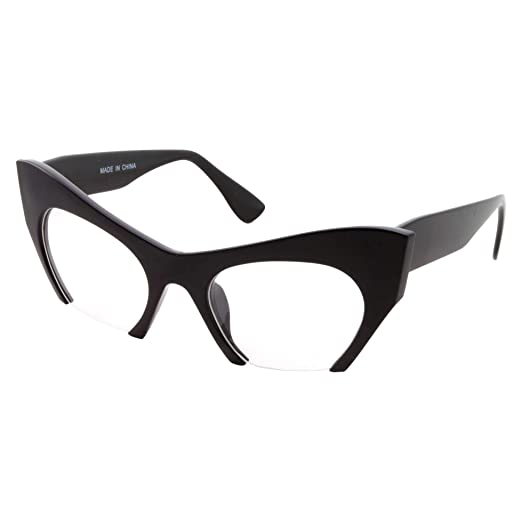 0e5737f0a73 Semi Rimless Cat Eye Glasses Clear Lens Half Frame Cut Off Bottom (Black)