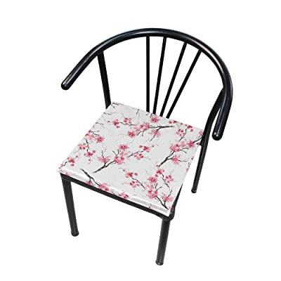 """Bardic HNTGHX Outdoor/Indoor Chair Cushion Japanese Cherry Blossom Square Memory Foam Seat Pads Cushion for Patio Dining, 16"""" x 16"""": Home & Kitchen"""