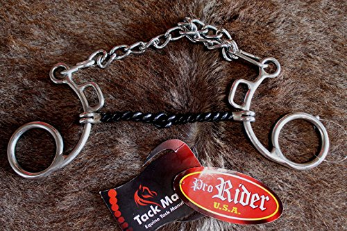 PRORIDER Horse Snaffle BIT Low-Port Correction Horse BIT Chain with Twisted Wire 35244 ()