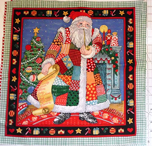 Christmas Holiday Patchwork Country Style Santa Cranston Print Works Fabric Panel 17