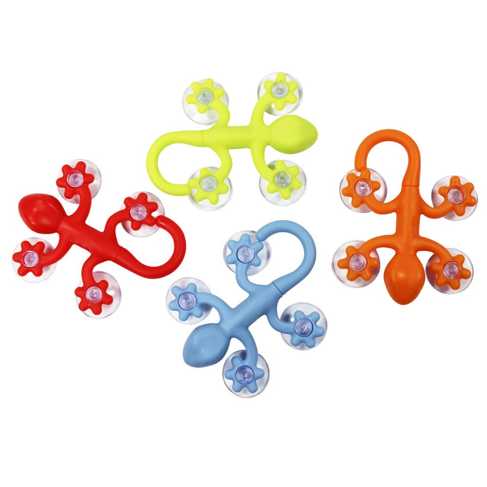 COM-FOUR® 4x Gecko suction cup wall hook, large, 9 x 6.5 cm, with high suction power, in different colors (4 pieces in size)