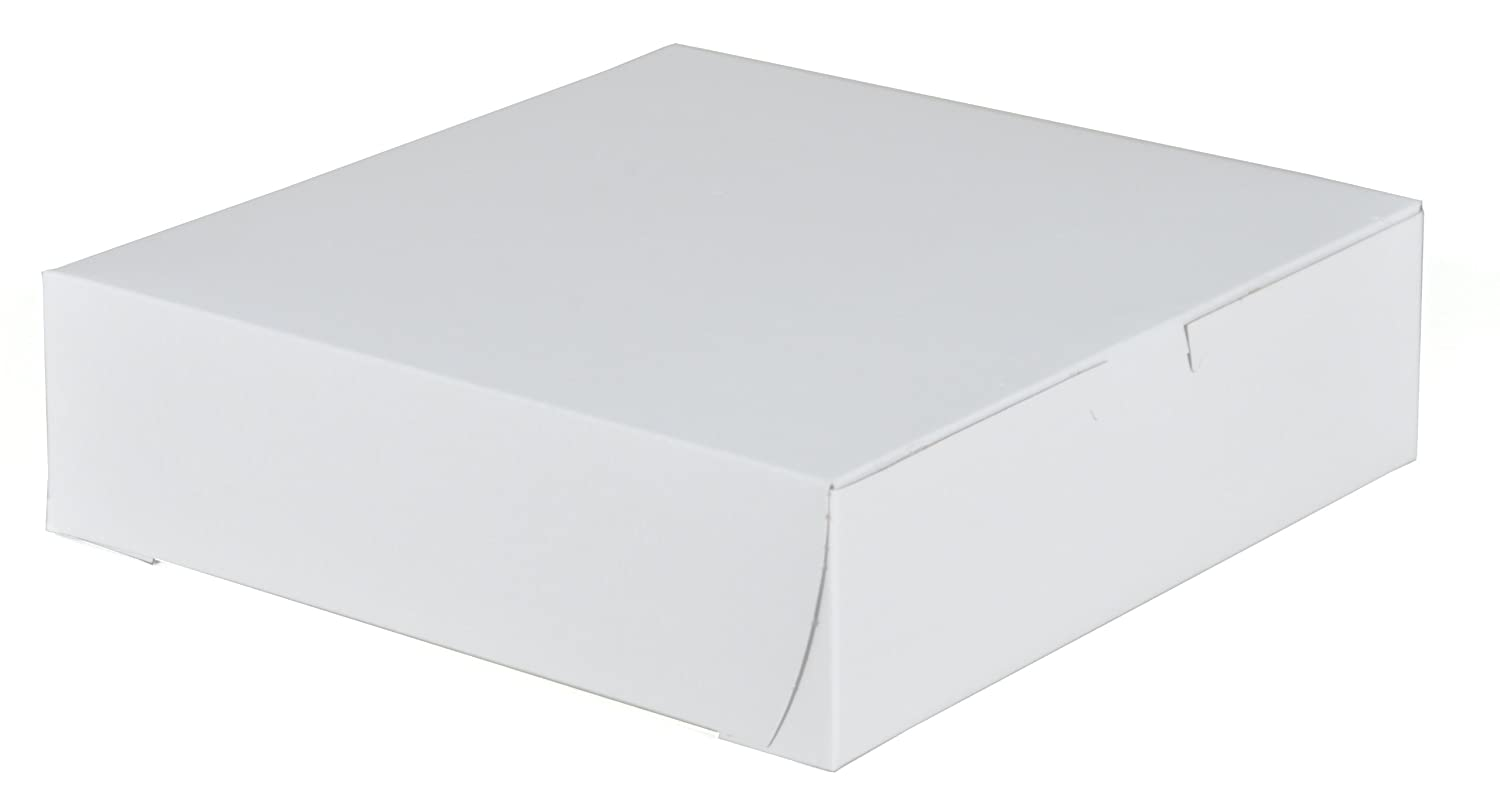 9 Length x 9 Width x 2.5 Height Southern Champion Tray 0953 Premium Clay-Coated Kraft Paperboard White Non-Window Lock Corner Bakery Box Case of 250