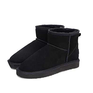 Winter Women s Snow Boots Cow Split Leather Ankle Shoes Woman Botas Mujer  Big Us 3- 89ee7d33f