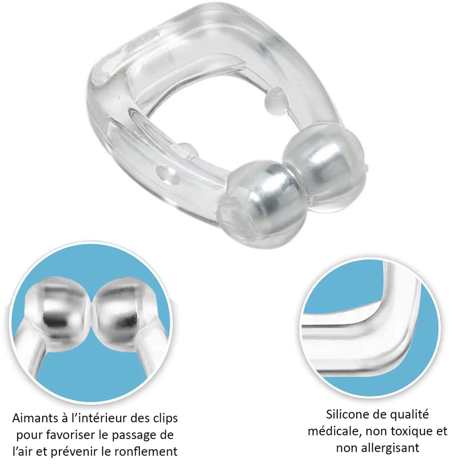Dispositif Anti-Ronflement, Clip Anti Ronflement Magnetique Premium Pour Lutter Contre Ronflement, Apnée du Sommeil en Silicone Medical, Lot de 2
