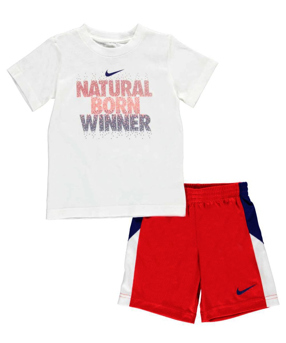 "NIKE Toddler Boys Short-Sleeve Natural Born Winner Tee"" & Shorts Set (4T, university red)"