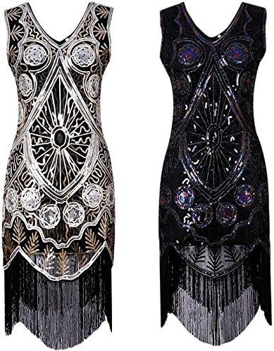 IyMoo Womens Sequined Embellished Tassels Hem Flapper Fringe Beaded Great Gatsby Party Dress