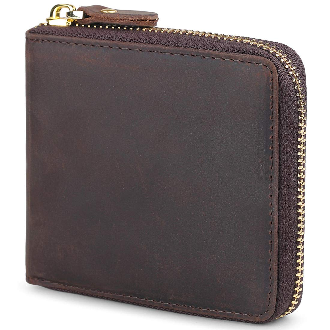 Huztencor Wallets for Men Zipper Leather RFID Blocking Wallet Bifold with Zippers Coin Change Pocket Picture Slots Zip Around Travel Wallet Coffee