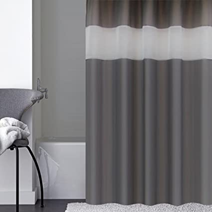 Eforcurtain Modern Charcoal White Stripe Polyester Bathroom Shower Curtains Waterproof No More Mildew Stall Extra