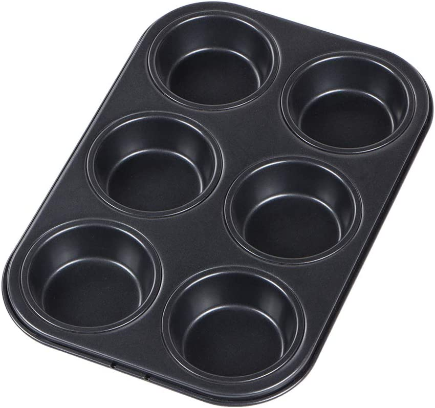 Webake Muffin Cupcake Pan Nonstick Coated Carbon Steel 6 Cup for Toaster Oven and Oven Baking