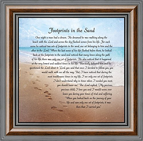 Elegantly Yours Footprints in The Sand, Footprints in The Sand Wall Art, Footprints Poem, 10x10 8639W from Elegantly Yours