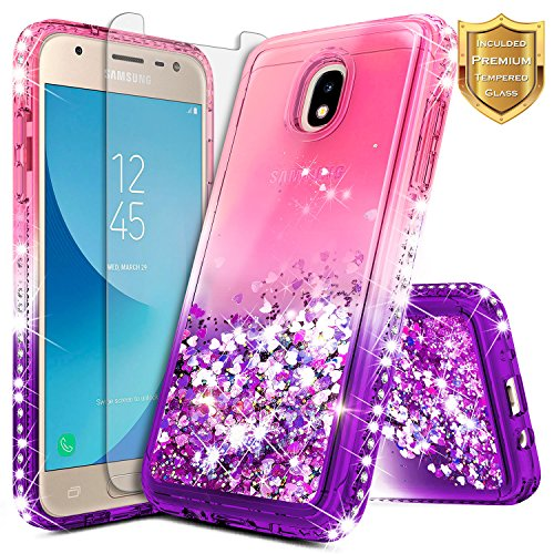 Stars Protector Case Design (NageBee [Glitter] Cute Case Compatible with Galaxy J3 2018 /J3 Star /J3 V 3rd Gen/Express Prime 3 /J3 Achieve w/[Tempered Glass Screen Protector] Liquid Quicksand Flowing Sparkle Diamond -Pink/Purple)