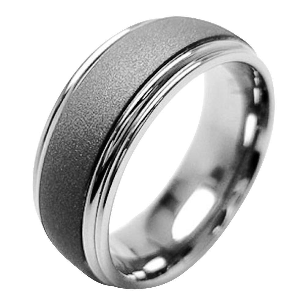 FlameReflection 7mm Mens Titanium Ring Wedding Band Two-Tone Sandblasted Top Polished Step Edge