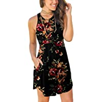 reputable site 4f335 d914c A-line T Shirt Dresses for Women - Summer Casual Sleeveless Vintage Floral  Print Party