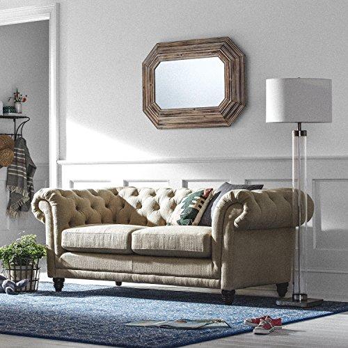 """Stone & Beam Bradbury Chesterfield Tufted Loveseat Sofa Couch, 78.7""""W, Hemp"""