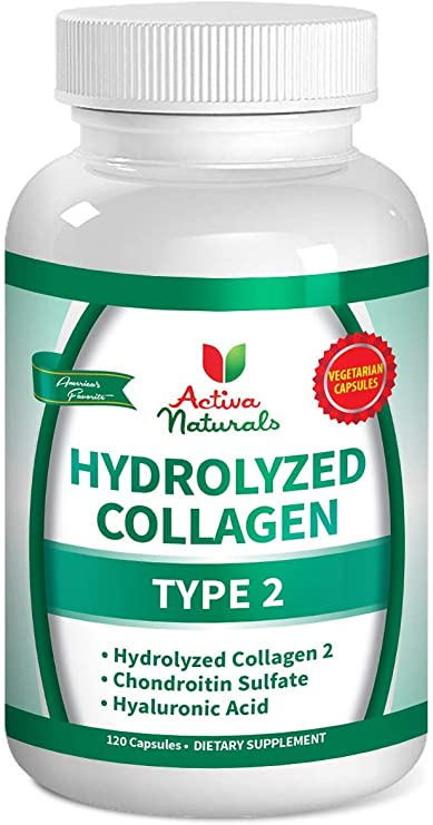 Activa Naturals Collagen Type 2 Hydrolyzed Supplement with Chondroitin and Hyaluronic - 120 Veg. Caps