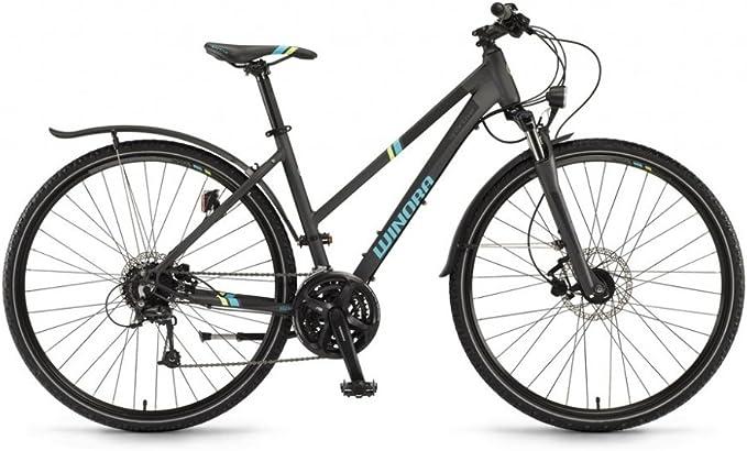Winora Samoa 28 pulgadas bicicleta de trekking mujer gris/cian ...