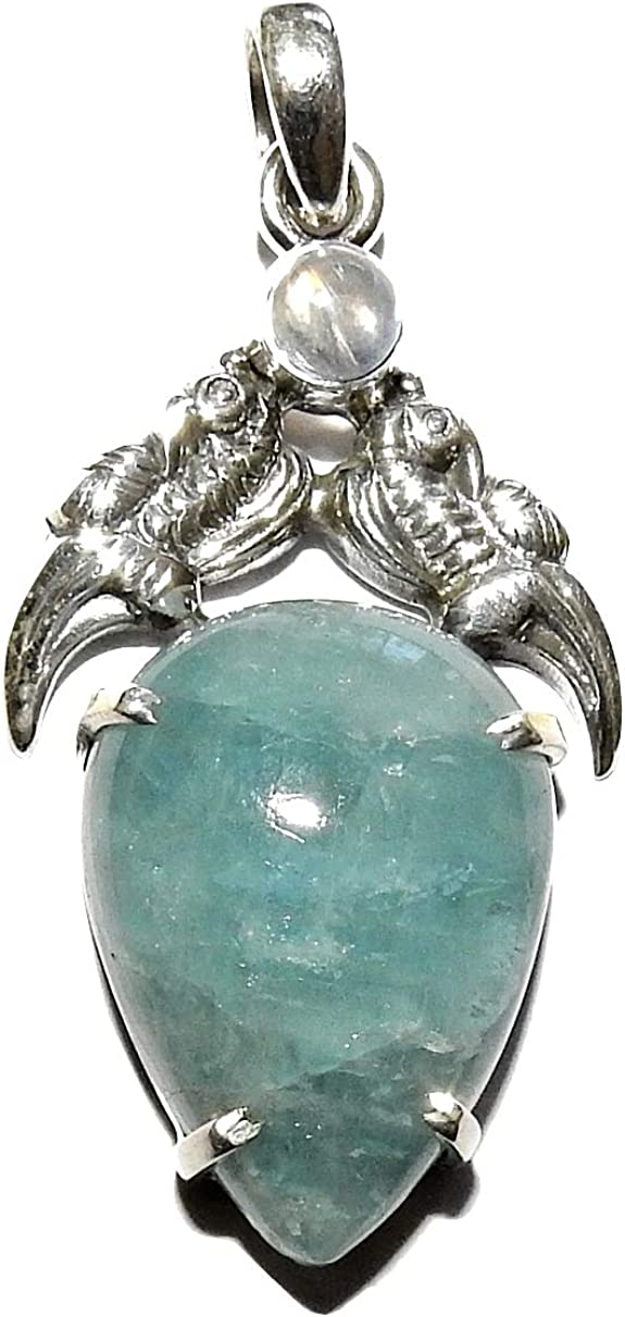 Aquamarine and Moonstone Pendant Sterling Silver Natural Healing Crystal Energy AQMP004